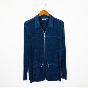 CHICOS Navy Blue Full Zip Cardigan Jacket